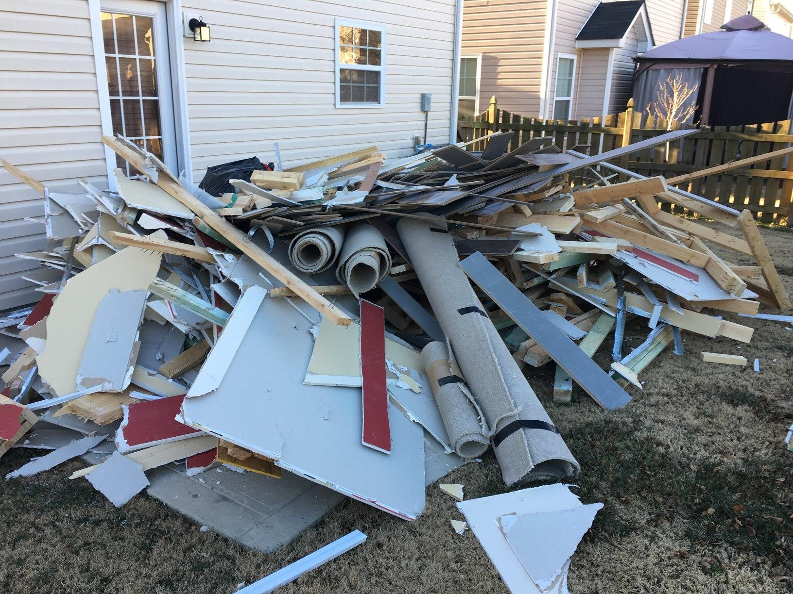 Construction Debris Removal in Matthews, NC - Before Photo