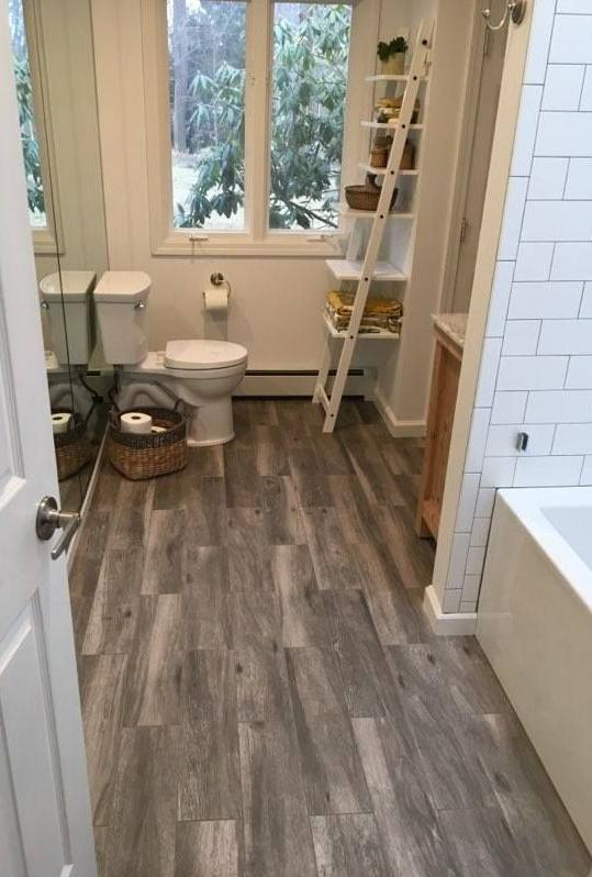 Bathroom remodel in Newtown, CT after leaky toilet damaged flooring - After Photo