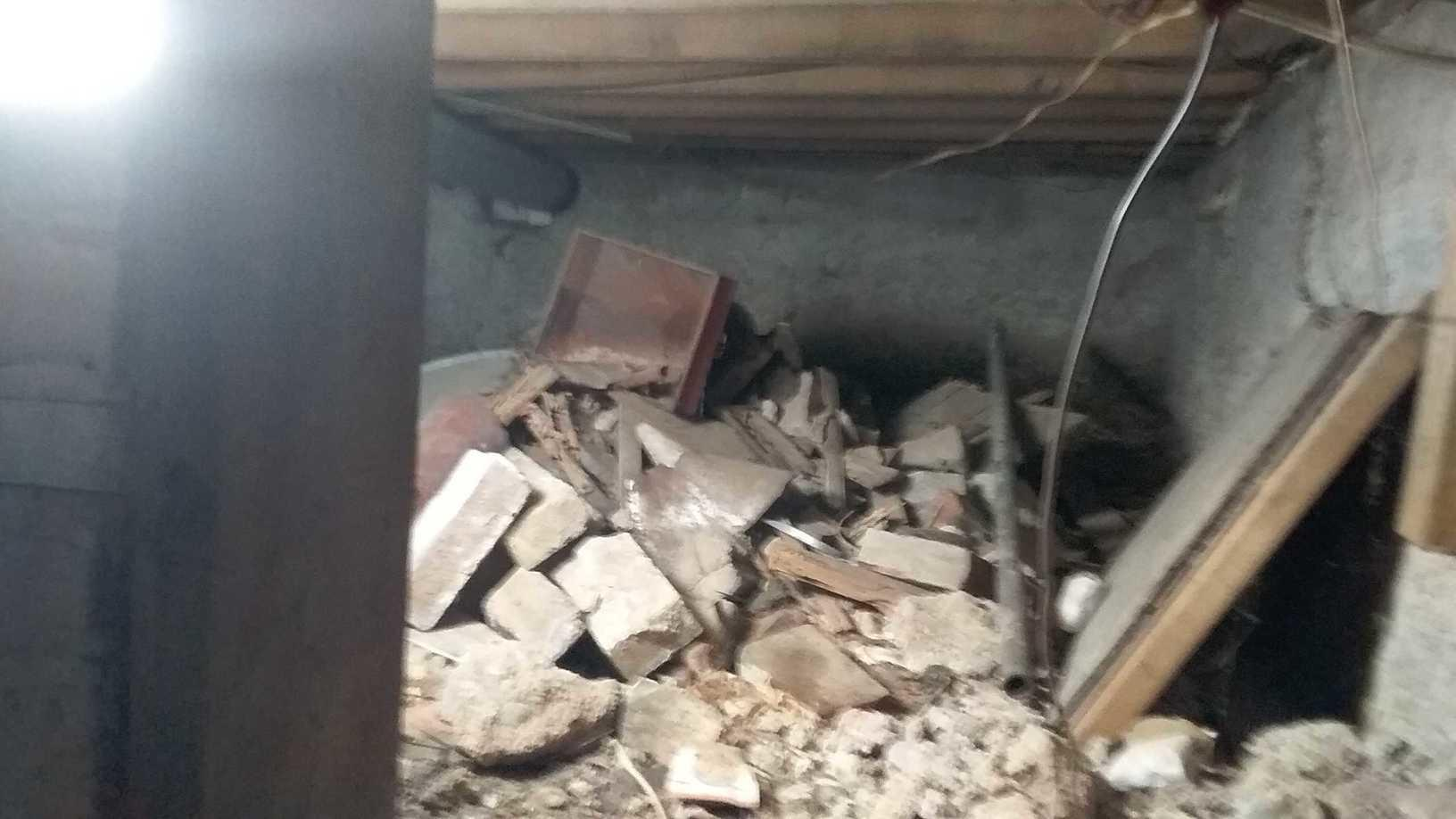 Crumbling Crawl Space in Ashville, OH - Before Photo
