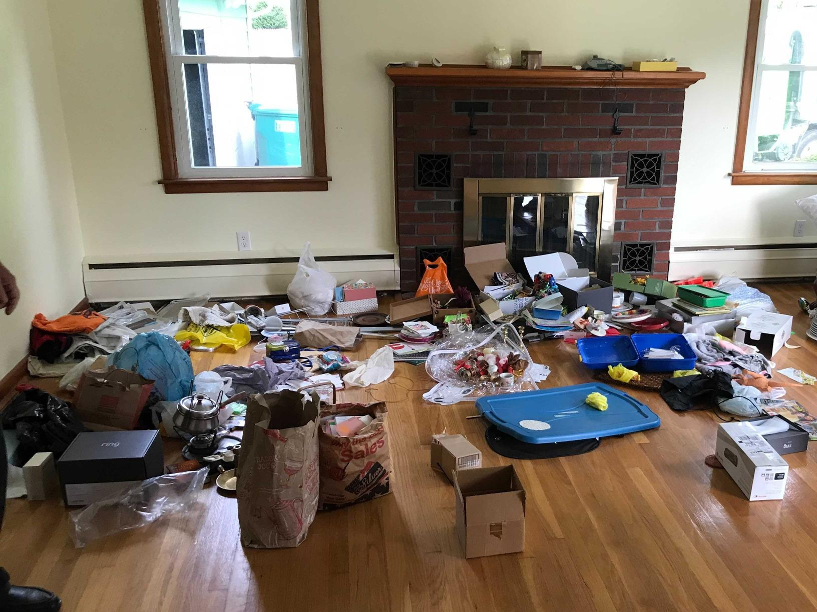 Living Room Junk Removal in Milford, CT - Before Photo