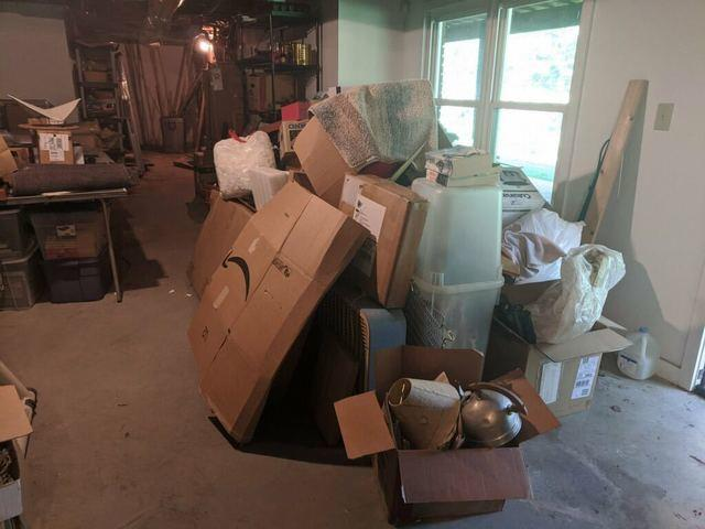 Basement junk removal clean-out in Milton, Georgia.