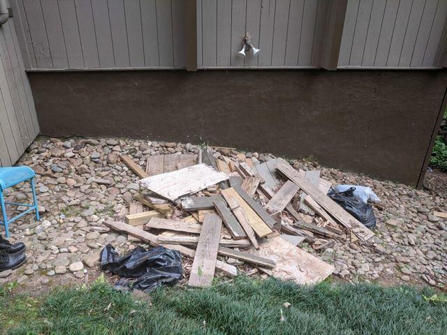 Wood debris removal in Atlanta, Georgia.