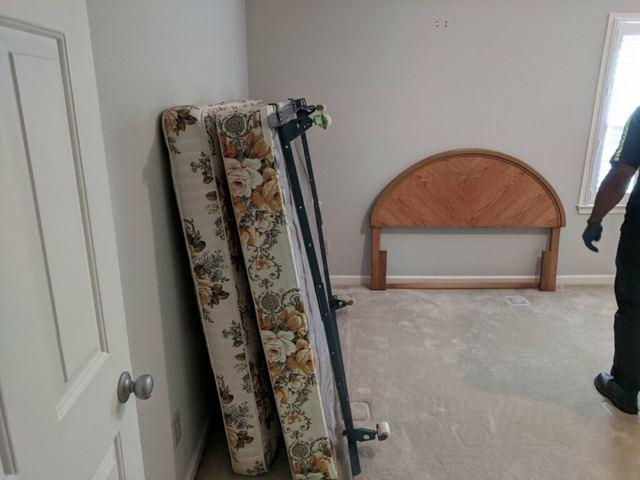 Mattress and box spring removal in Peachtree Corners, Georgia.
