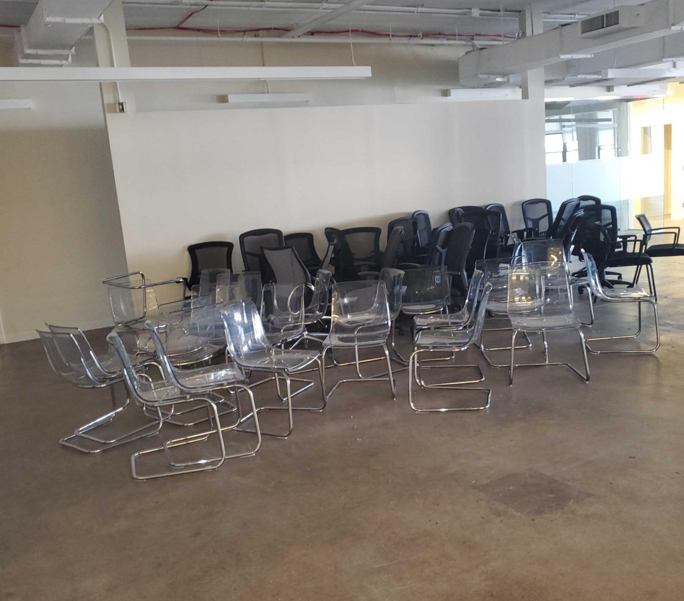 Removing office chairs to be donated in Long Island City, NY - Before Photo