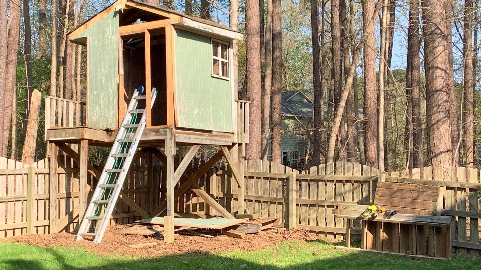 Tree House Removal in Cary, NC - Before Photo