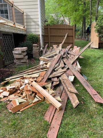 Lumber removed from a Home in Apex, NC