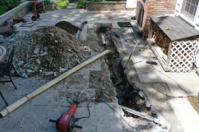 Replacement of crushed drainage pipe