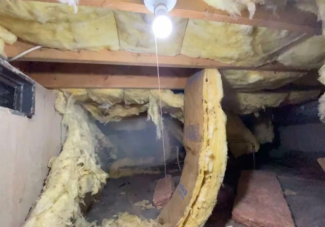 Insulation Makeover In This Crawl Space - Before Photo
