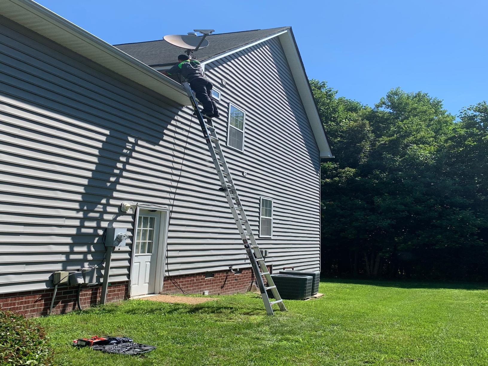 Removing a Satellite Dish in Williamsburg, VA - Before Photo