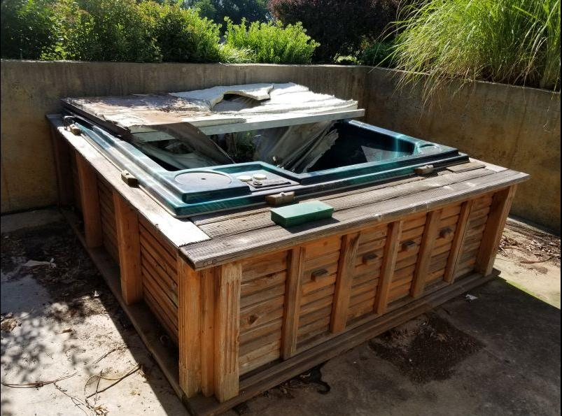 Hot Tub Removal in Spring Hill, KS - Before Photo