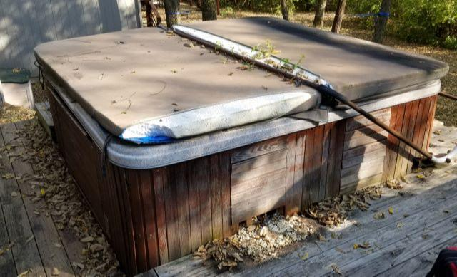 Hot Tub Removal in Lawrence, KS - Before Photo