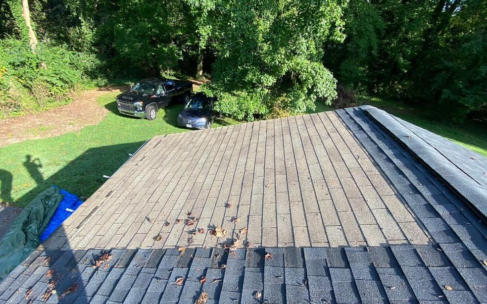 Patching Over Damaged Roof with Architectural Shingles in Greensboro, NC - Before Photo