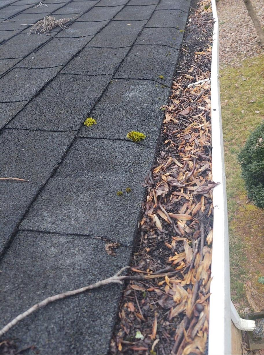 Gutter Guard Installation on Clogged Gutters in Winston-Salem, NC - Before Photo