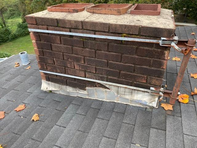 Repairing Broken and Leaking Flashing on Roof in Yadkinville, NC - Before Photo