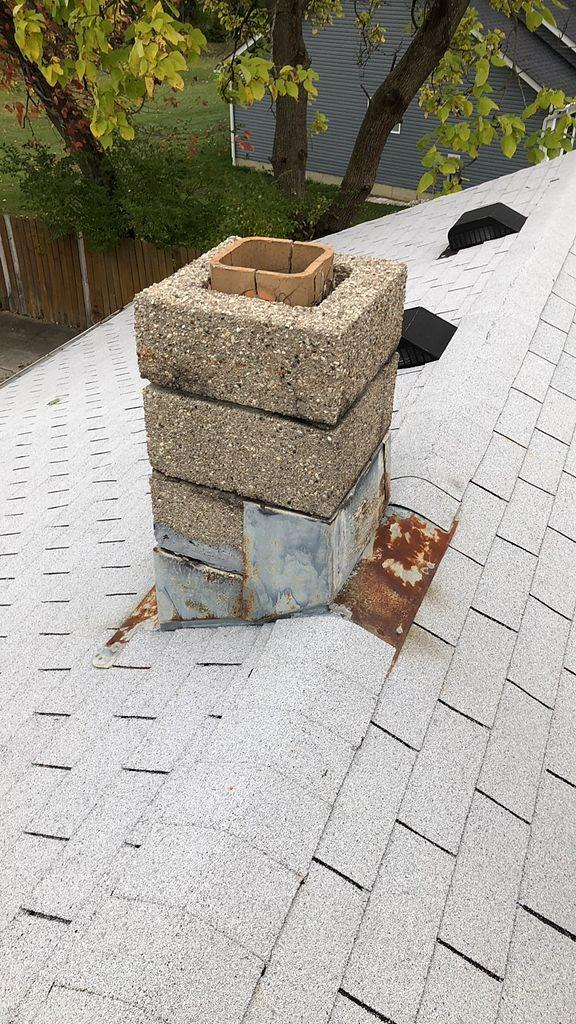Before and After West Chester Chimney Flashing - Before Photo