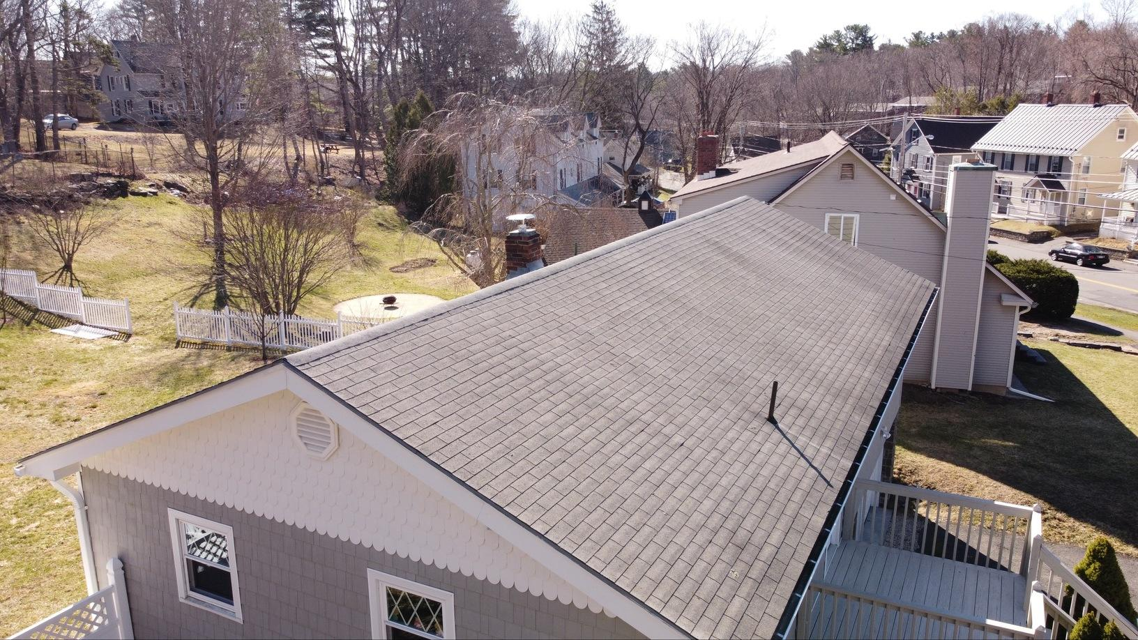 Lenox, MA Roof Replacement IKO Dynasty Atlantic Blue Shingles - Before Photo