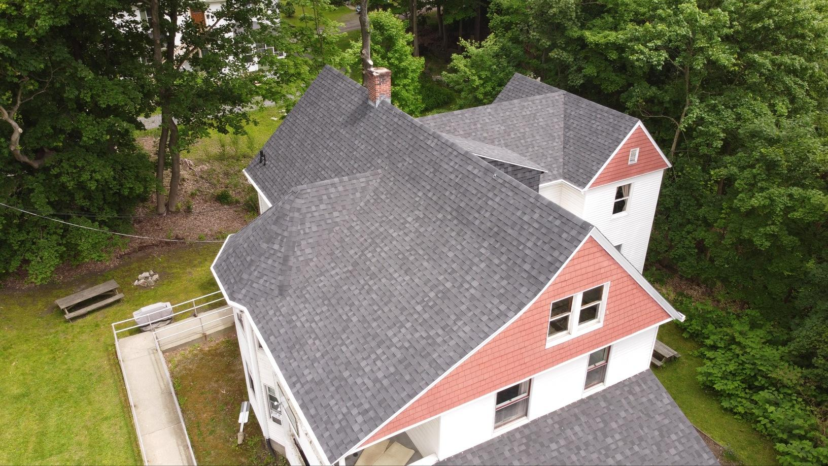Great Barrington, MA Roof Replacement IKO Dynasty Granite Black Shingles - After Photo