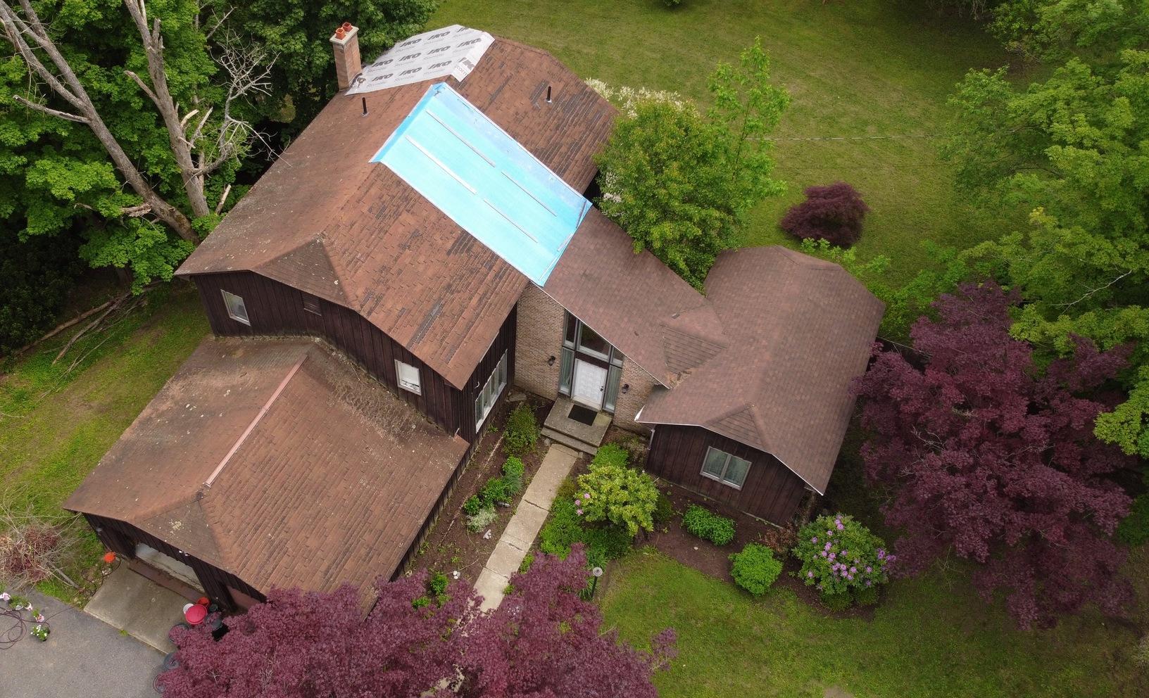 Lenox, MA Roof Replacement IKO Dynasty Granite Black Shingles - Before Photo
