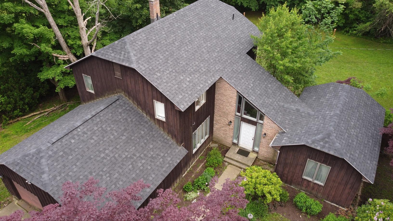 Lenox, MA Roof Replacement IKO Dynasty Granite Black Shingles - After Photo