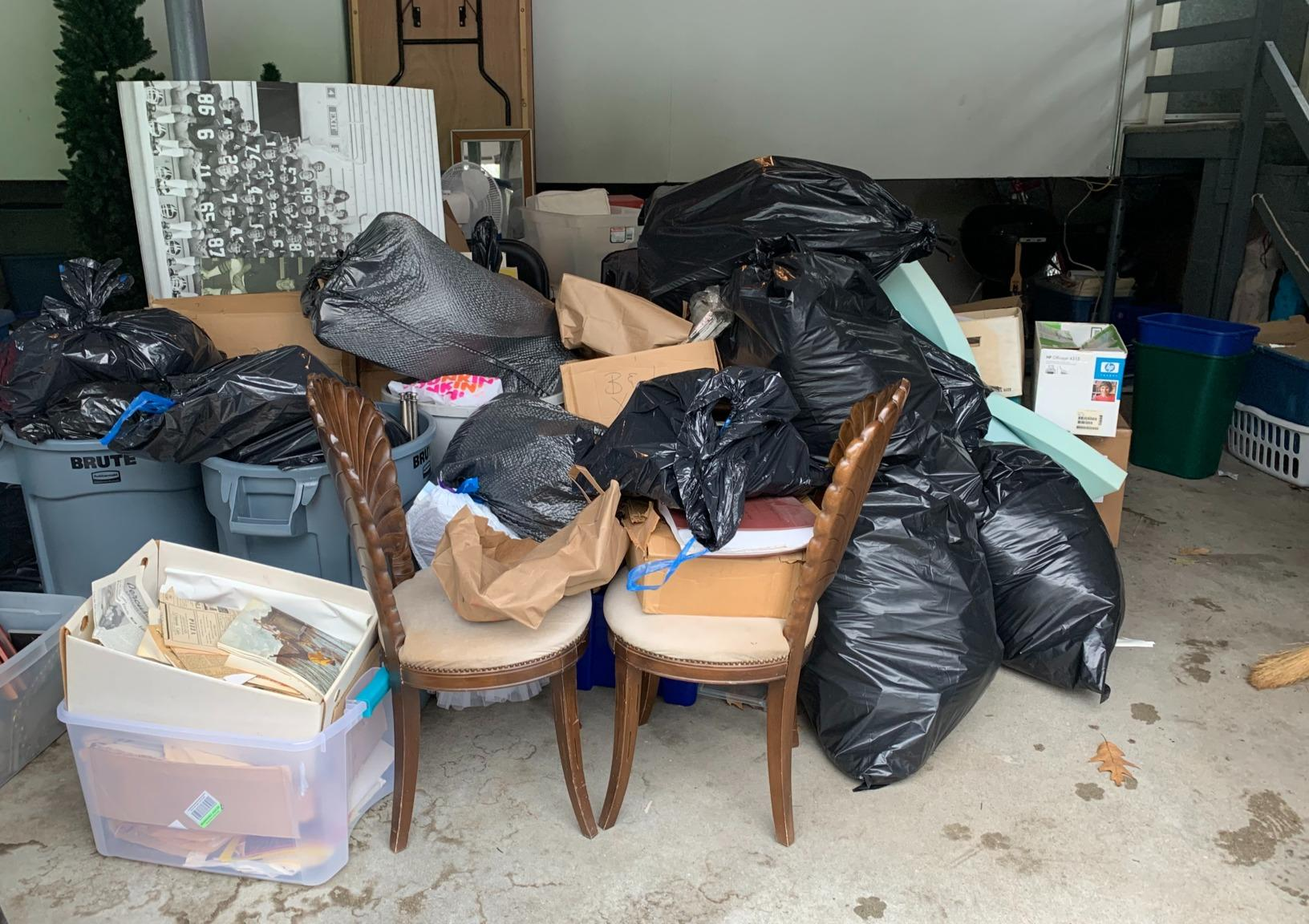 Garage Cleanout in Needham, MA - Before Photo