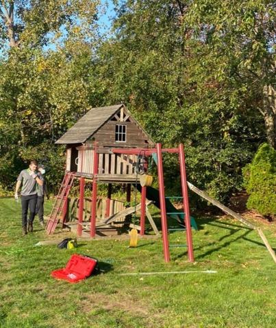 Playset dismantle and removal in Westwood, MA - Before Photo