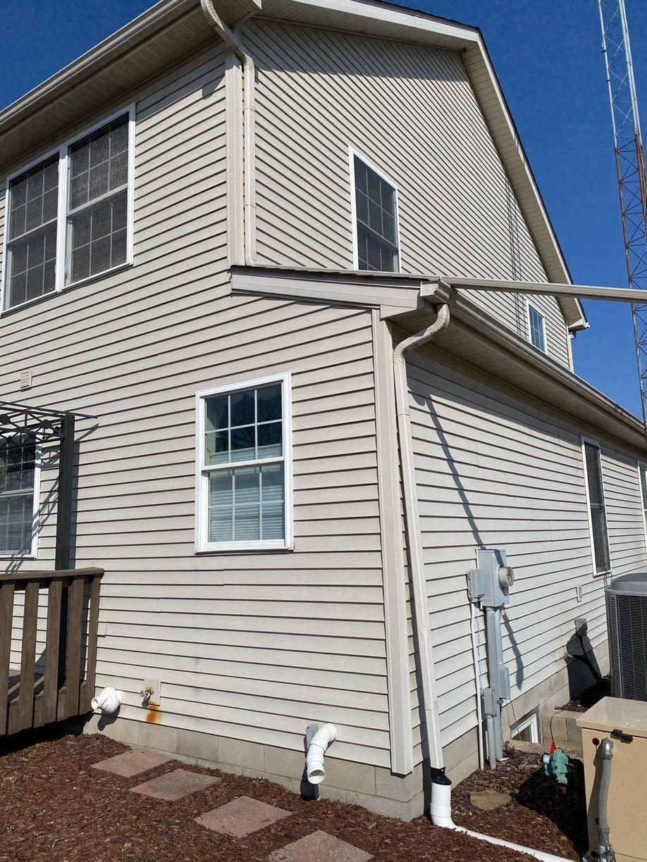Radon mitigation fan exterior, Union Mills - Before Photo