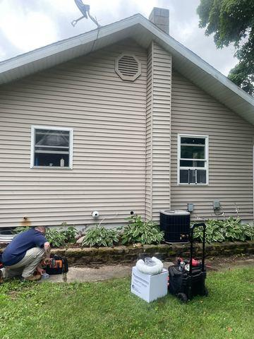Exterior Eagle Extreme standard radon fan install Kingsbury, IN - Before Photo