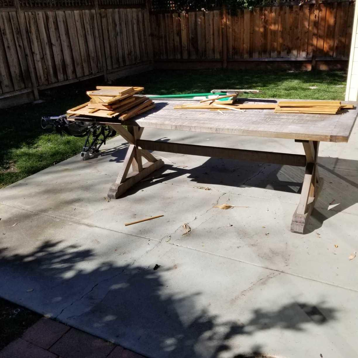 Bulky table removal through a narrow path in Palo Alto, CA - Before Photo