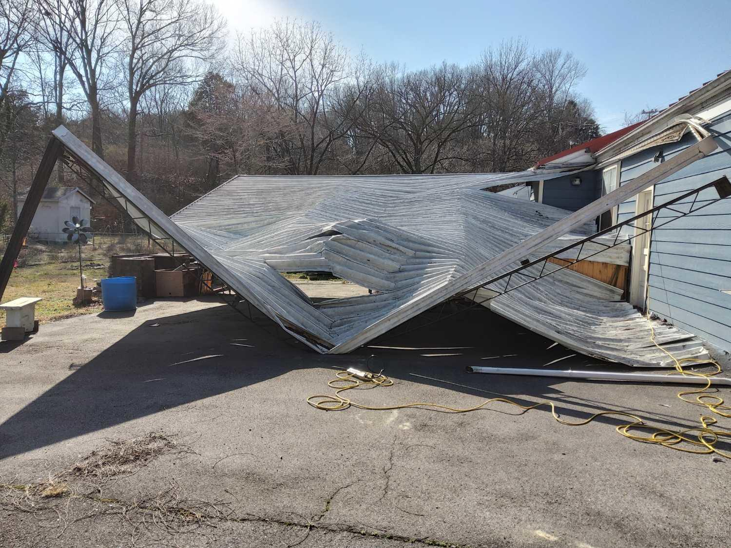 Collapsed Carport Removal in Nashville, TN - Before Photo