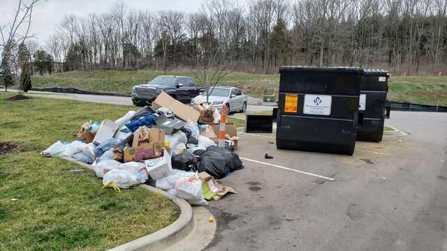 Dumpster corral clean up in Franklin, TN