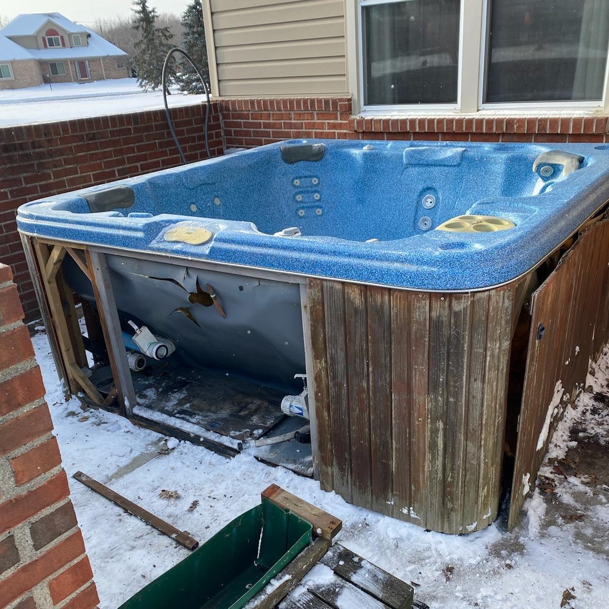 Hot Tub Removal, New Boston MI - Before Photo