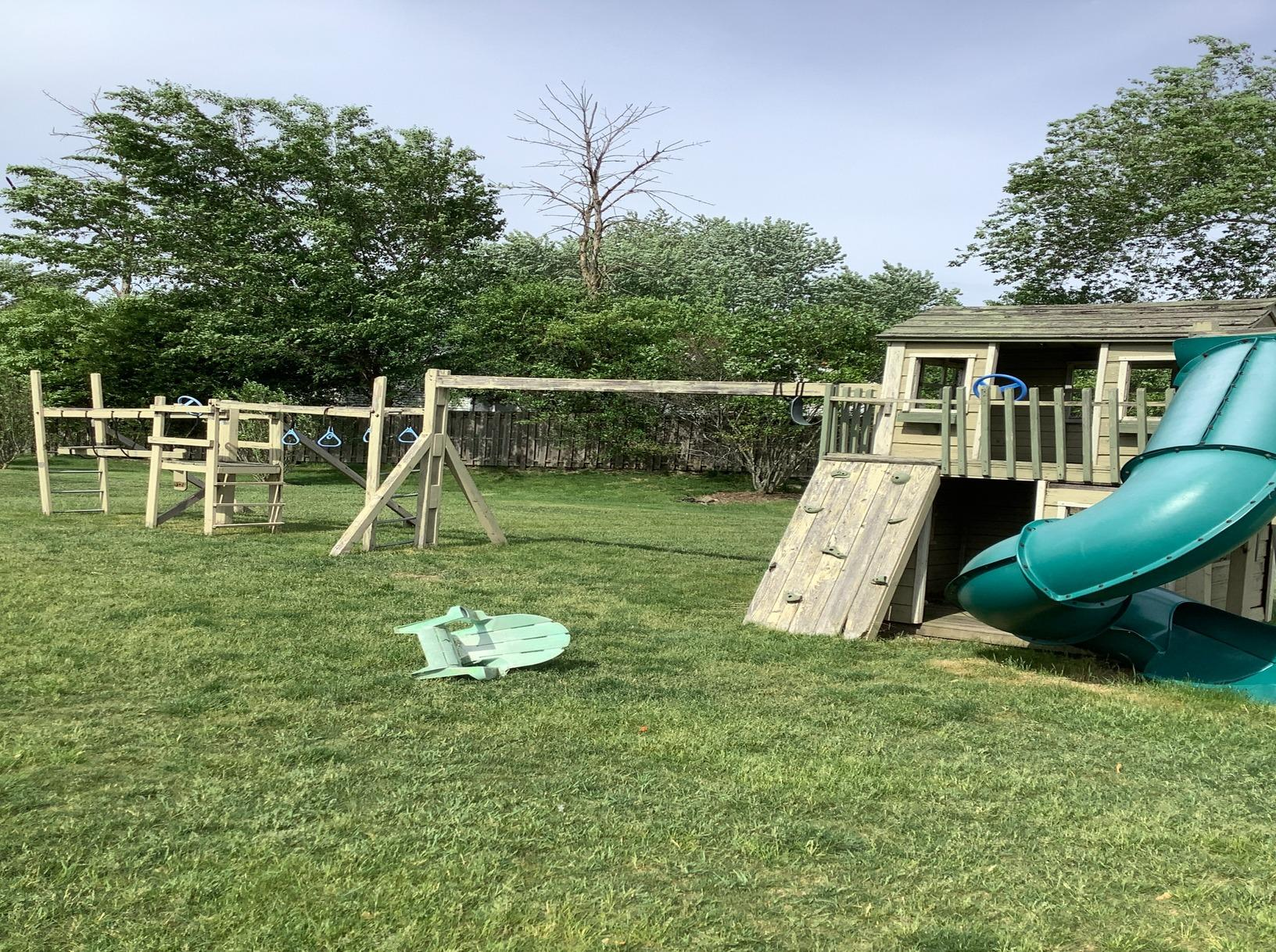 Saint Charles, IL Spring Cleaning Yard Debris Playground Removal - Before Photo