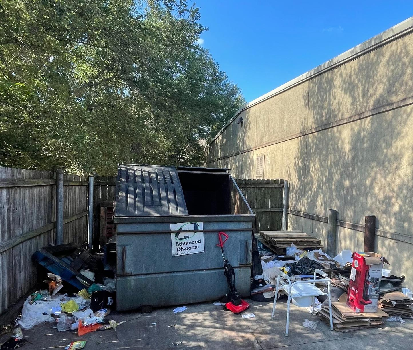 Jacksonville Florida, Commercial dumpster clean out - Before Photo