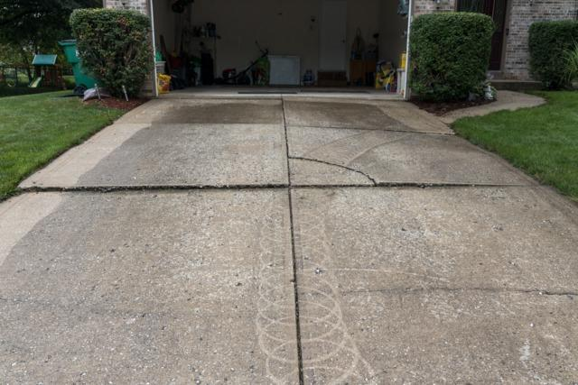Driveway sinking- Fishers, IN - Before Photo