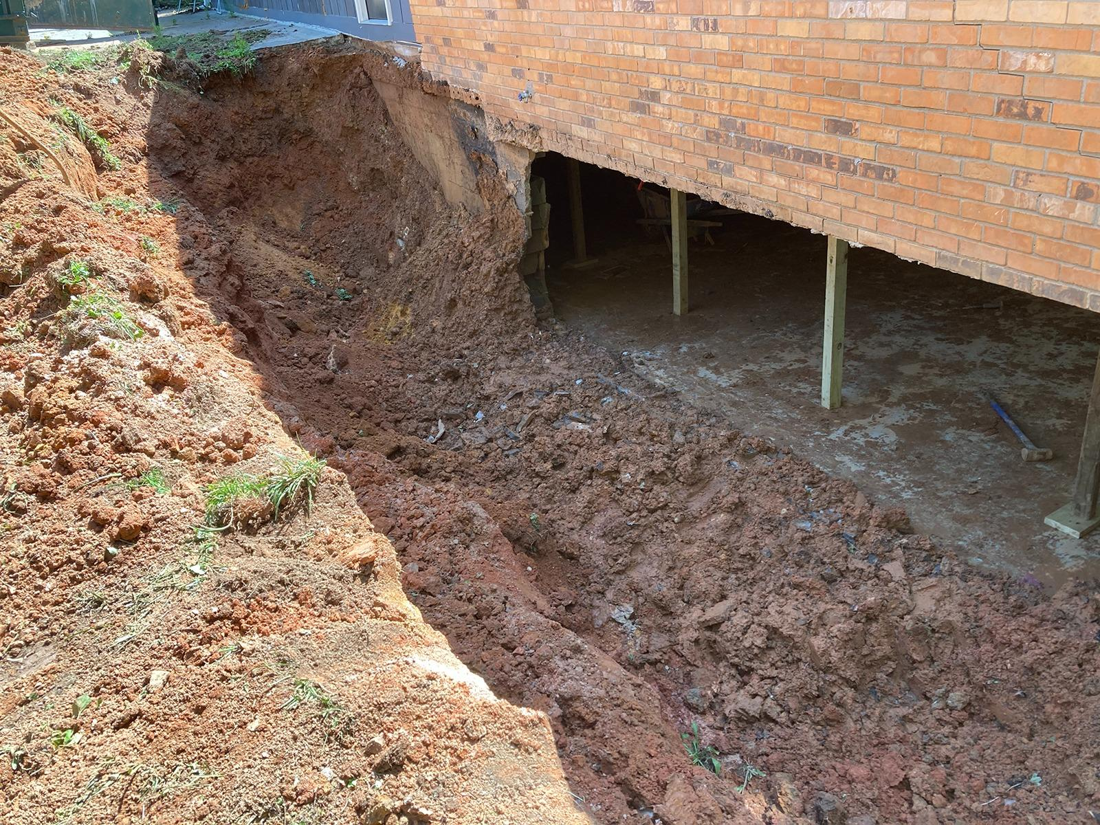 Rebuilding a Collapsed Foundation Wall in Lithia Springs, GA - Before Photo