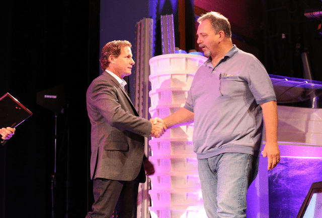 A photo of Dan Gattuso, Owner of Dry Guys and Larry Janesky, Owner of Basement Systems Inc, at Convention this...