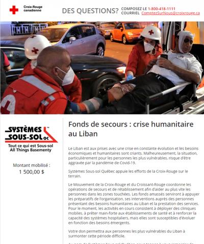 fond amassé pour la crise humanitaire au Liban