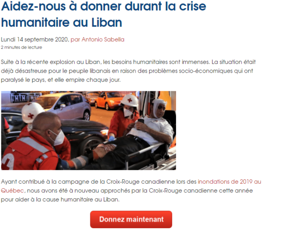 Systèmes Sous-sol Québec appuie les efforts de la Croix-Rouge canadienne ...