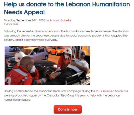 Systèmes Sous-sol Québec supports the efforts of the Canadian Red Cross t...