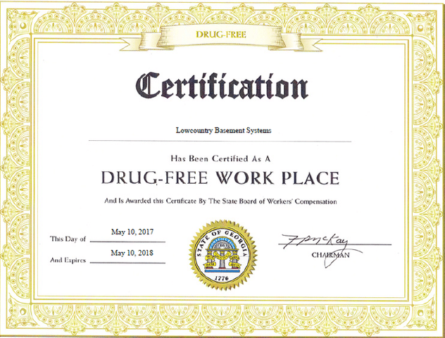 We are Officially a Drug-Free Work Place!