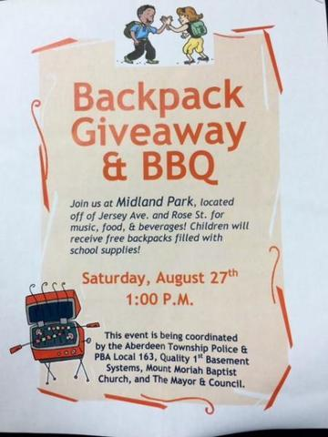 Backpacks for Aberdeen Giveaway and BBQ