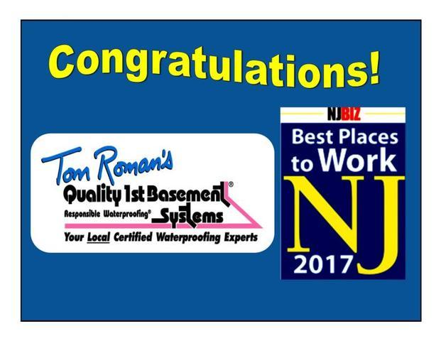 Quality 1st Basement Systems is proud to be named of the 2017 Best Places to Work in New Jersey....
