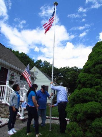 Tom, Bob, Keashan and Mallory raising the second Flag in Keyport
