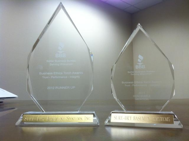 Sure-Dry Basement Systems Receives Ethics Award