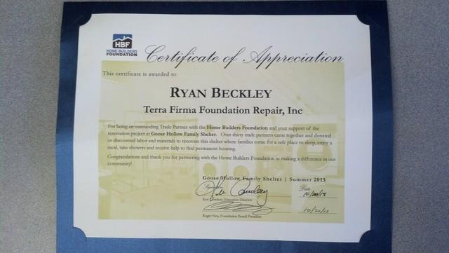 Home Builders Foundation Certificate of Appreciation