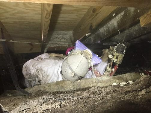 A Spray Foam Technician applies two-part spray foam insulation in a low-clearance Seaford, VA crawl Space