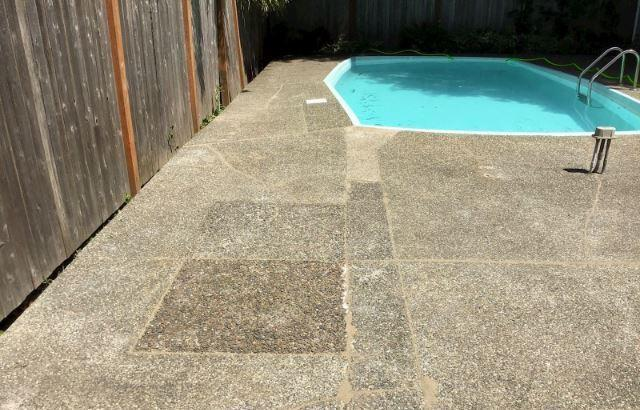 PolyLevel concrete around in-ground swimming pool