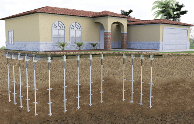 Helical piers for home foundation support