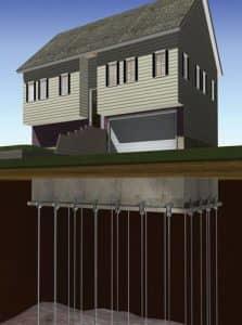 push pier foundation illustration