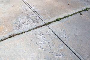 pitted concrete slabs